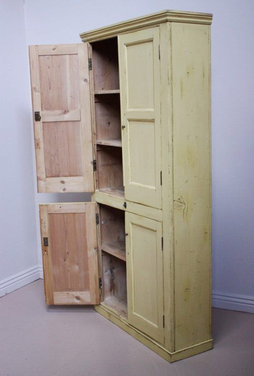 19th Century Antique Painted Pine Kitchen Cupboard Built In Cupboards, Kitchen  Cupboards, Pine Kitchen - 19th Century Antique Painted Pine Kitchen Cupboard Antiques