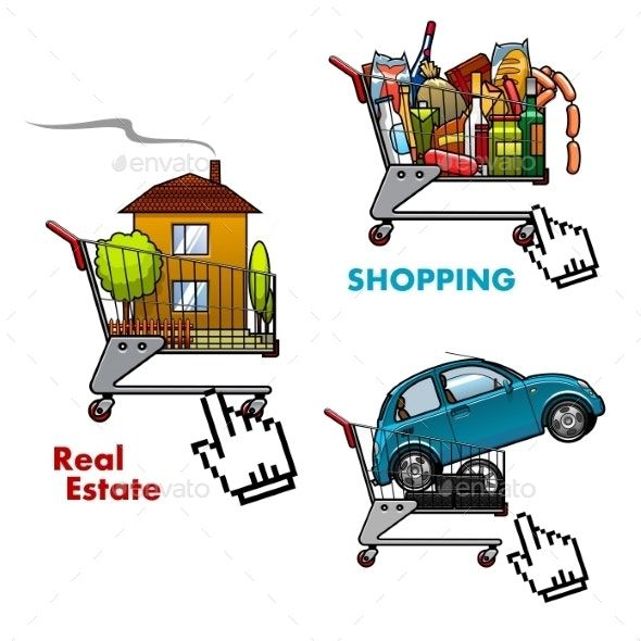 Shopping Carts With Food Car And Real Estate