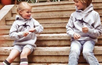 Kinder – Kapuzenpullover Hai mit Taucher