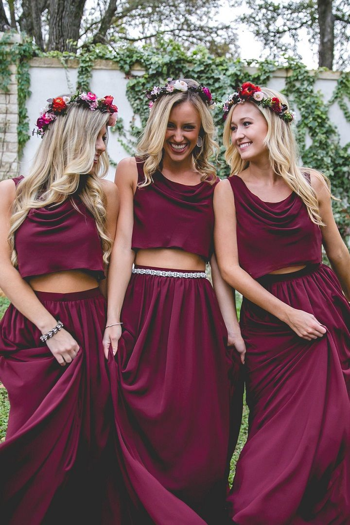 Crop top Burgundy bridesmaid dresses | bridesmaid dresses mix and match styles #bridesmaid #burgundybridesmaiddresses #bridesmaidsdresses off the shoulder bridesmaid dresses #bridesmaids #longbridesmaiddress #burgundywedding burgundy wedding ,fall wedding #mixandmatchbridesmaiddresses