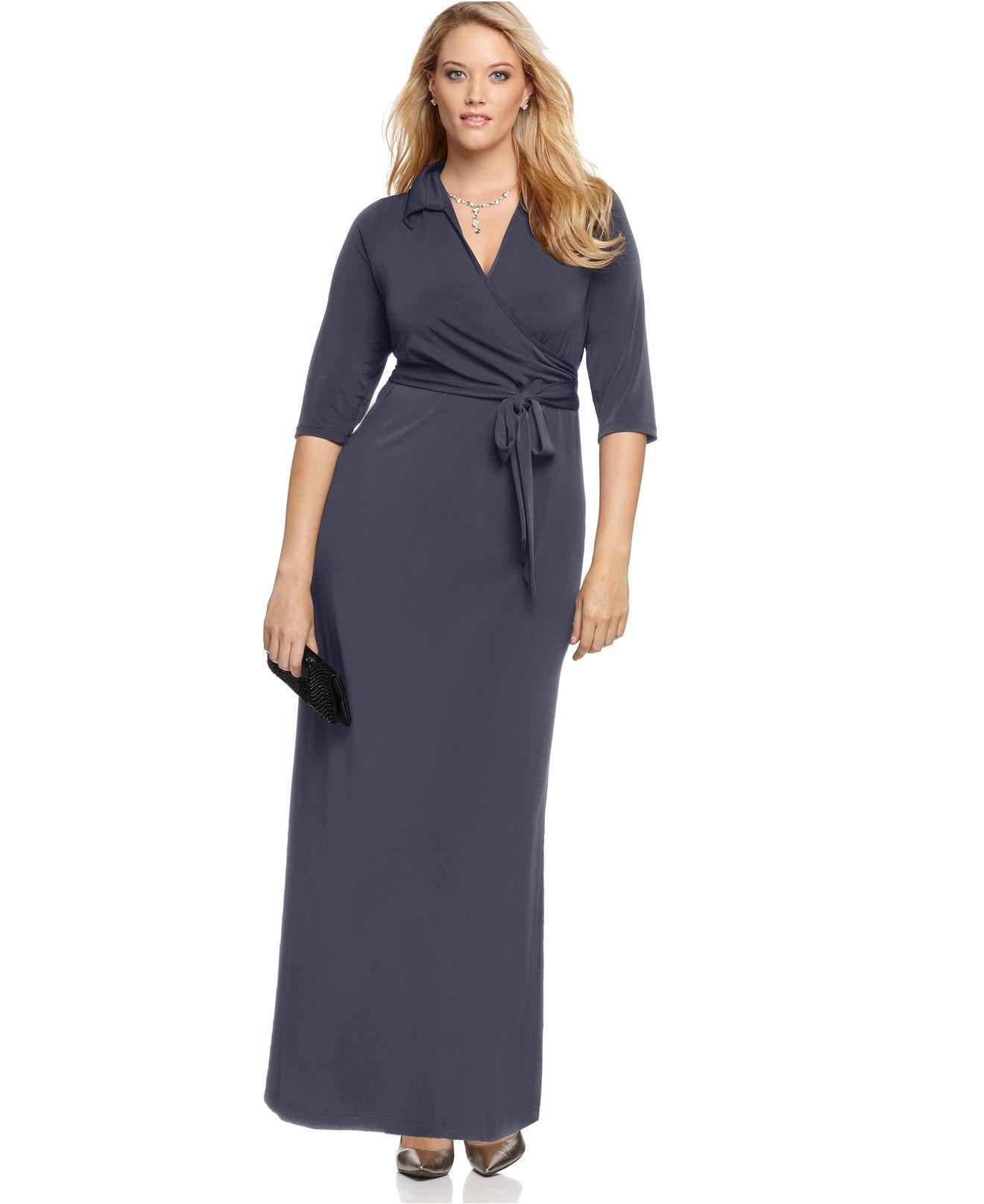NY Collection Plus Size Faux-Wrap Maxi Dress | Vestiditos
