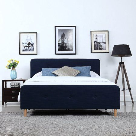 Mid Century Modern Linen Fabric Low Profile Bed Frame (Queen, Blue