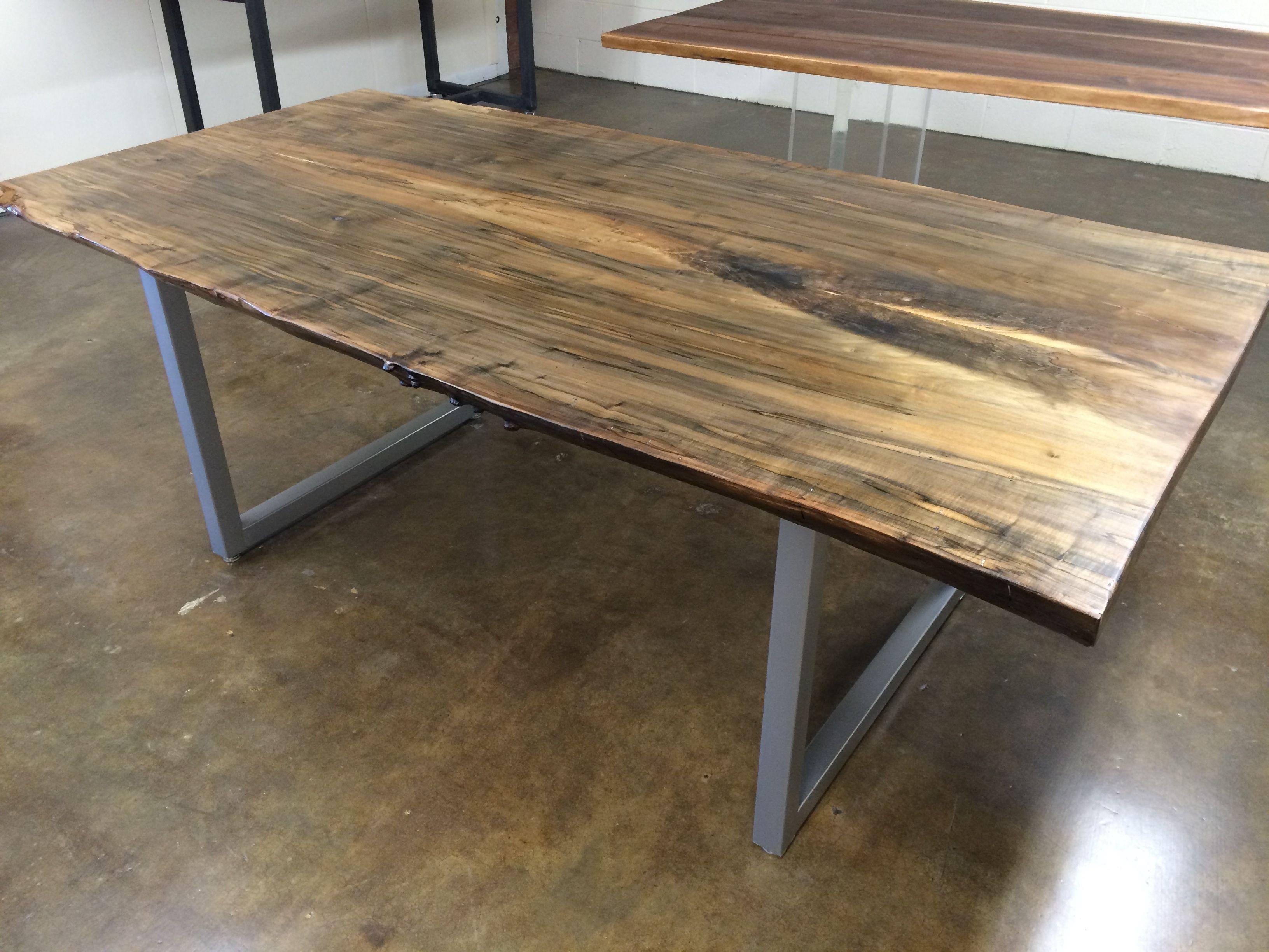 Superbe Josh Utsey Spalted Maple Table Metal Custom Charlotte