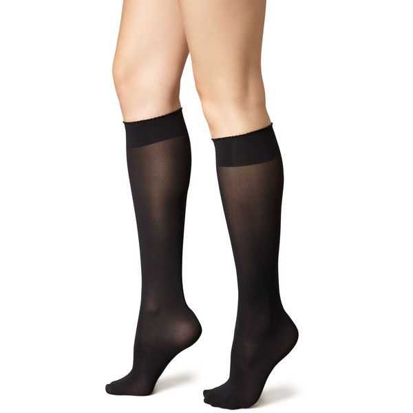 Wolford Velvet de Luxe 50 Denier Knee-High Socks ($33) ❤ liked on Polyvore featuring intimates, hosiery, socks, black, wolford socks, wolford, wolford hosiery, cuff socks and knee hi socks