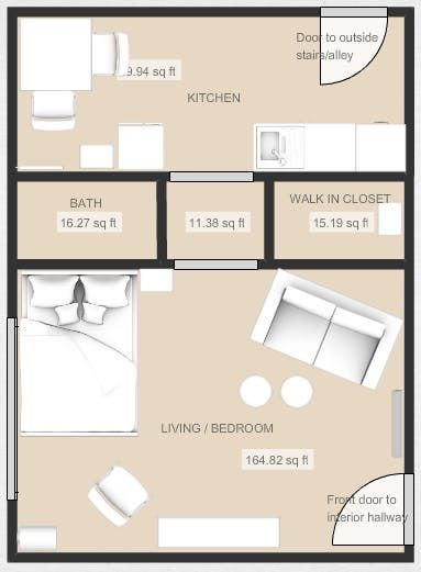 5 Smart Studio Apartment Layouts That Work Wonders For One Room Living Studio Apartment Layout Studio Floor Plans Studio Apartment