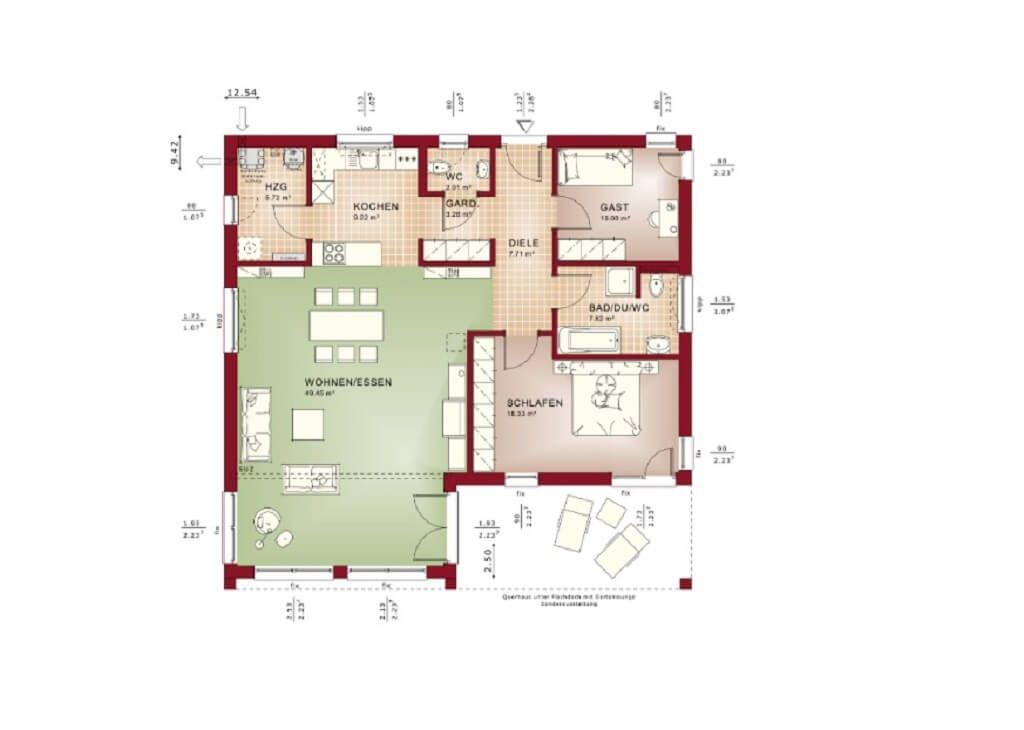 Flachdachbungalow Modern grundriss flachdach bungalow modern bauhaus architektur haus ideen