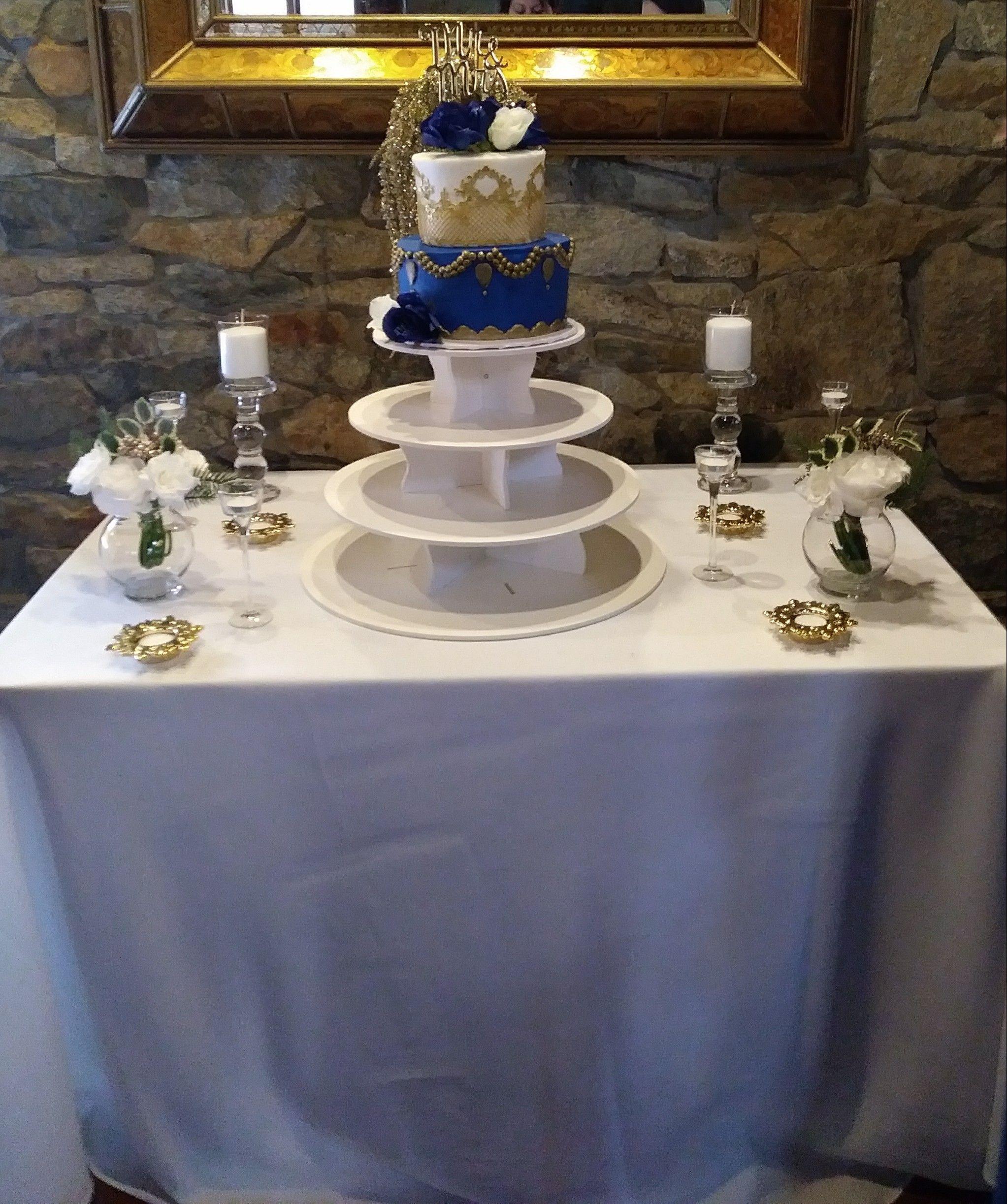 Royal Blue Gold White Wedding Cake Wedding Anniversary Cakes Anniversary Cake White Wedding Cake
