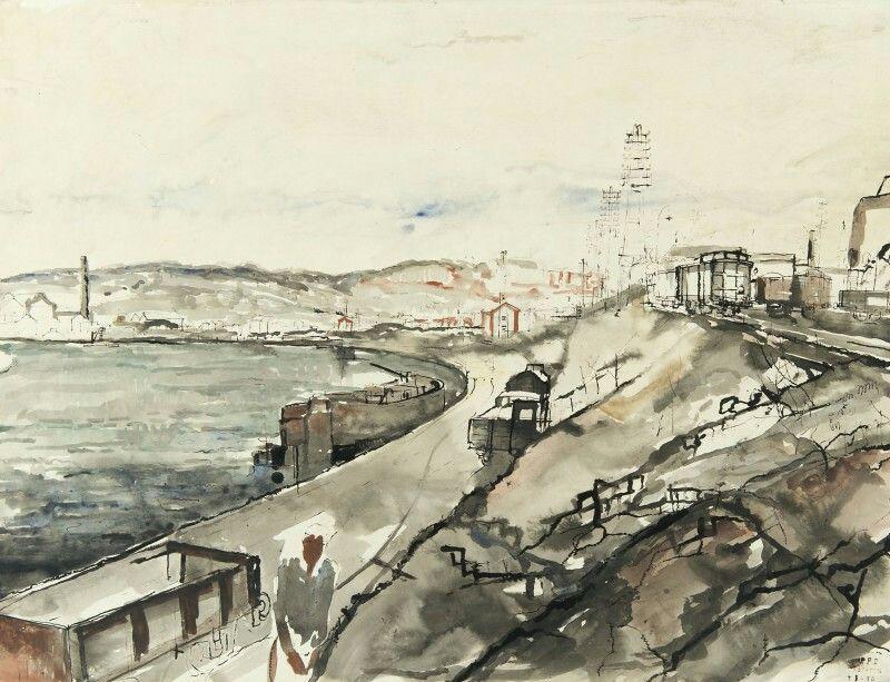Paul Delvaux (Belgian, 1897-1994),Vue de Statte (Huy) et la Meuse, 1930. Watercolour and Indian ink, 54 x 71.5 cm.
