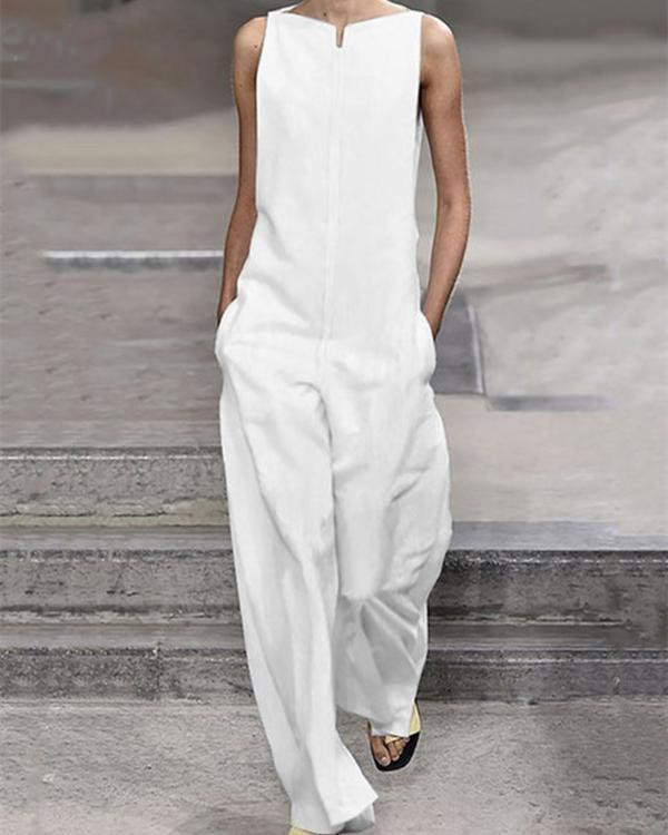 Pockets Solid Sleeveless Holiday Jumpsuits Gallery