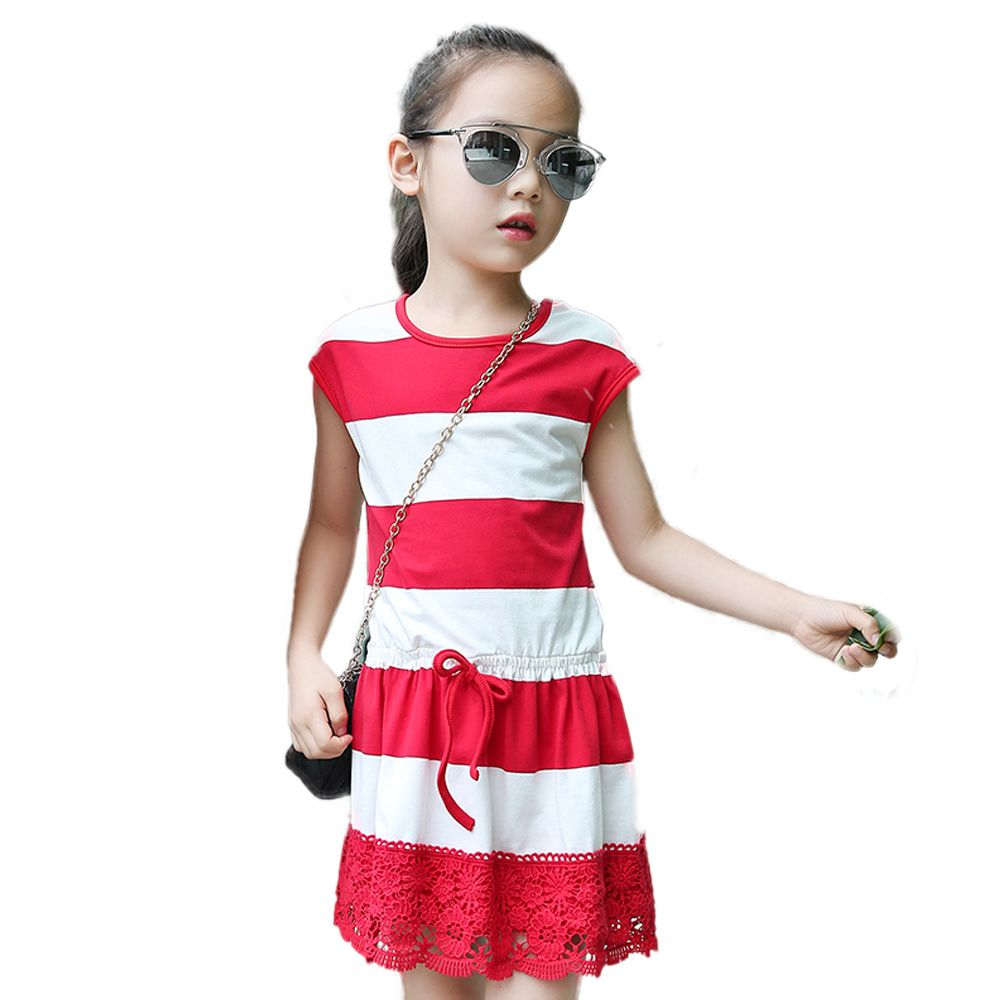 Tribros summer style baby girl clothes striped lace dress