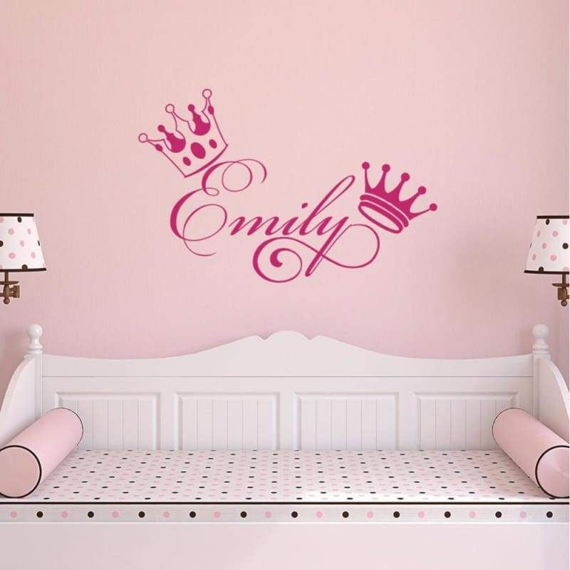 Crown Girls Name Sticker Nursery Wall Decals Kids Room Wall
