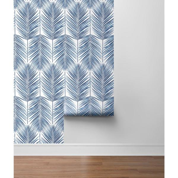 Nextwall Paradise Palm Coastal Blue Vinyl Strippable Roll Covers 30 75 Sq Ft Nw33002 The Home Depot Peel And Stick Wallpaper Palm Leaf Wallpaper Wallpaper Roll