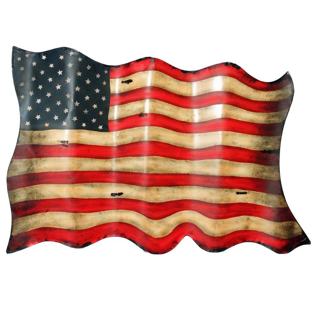 Americana Antique Style American Flag Metal Wall Decor Metal Wall Decor Metal Walls Metal American Flag
