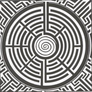 Labyrinth. The spiral tremination at the centre is not unknown in historical labyrinths.
