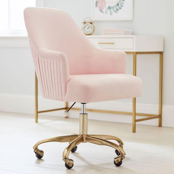 Performance Everyday Velvet Gray Pleated Swivel Desk Chair
