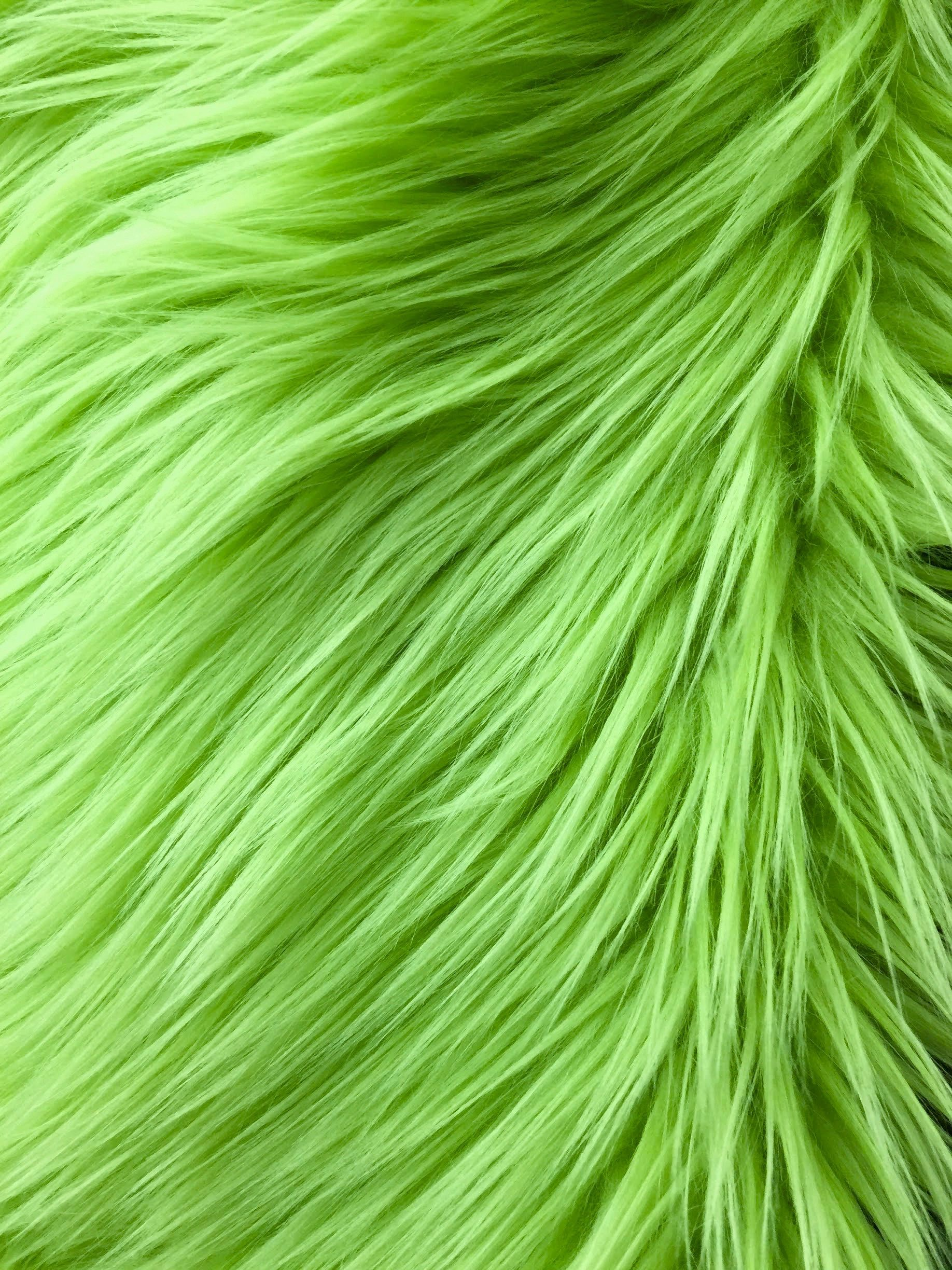 Eden LIME GREEN 2 Inch Long Pile Soft Faux Fur Fabric by