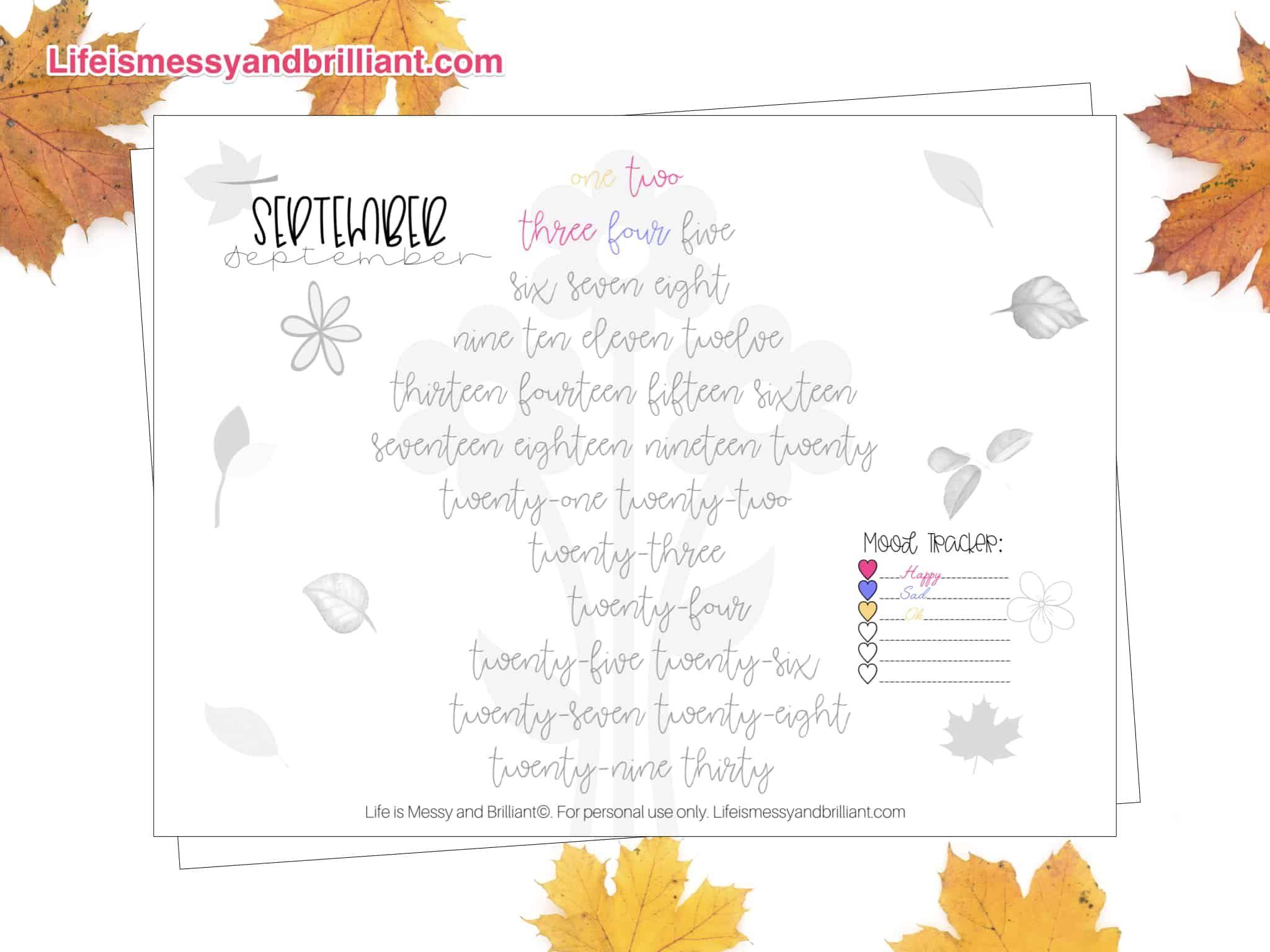 Free September Mood Tracker Printable
