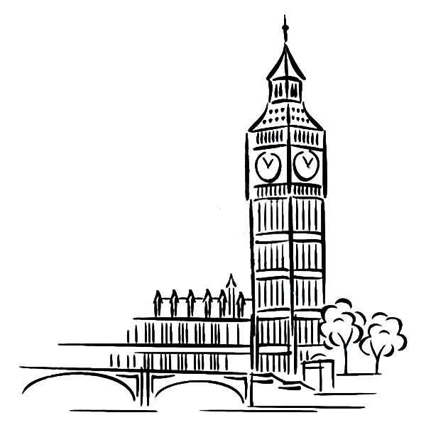 Big Ben Clock Tower Architechture Coloring Pages Netart Big Ben Drawing London Drawing Big Ben