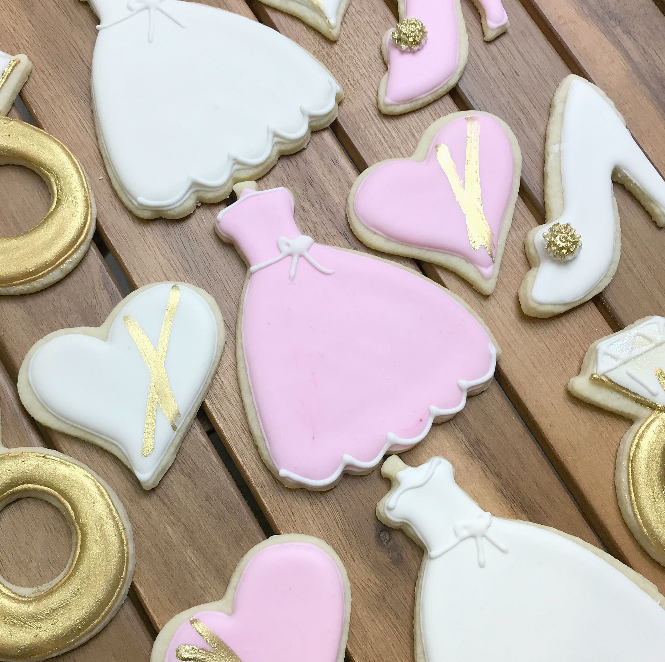 Bridal Shower Favours - Pink & Gold Dresses and Wedding Rings | My ...
