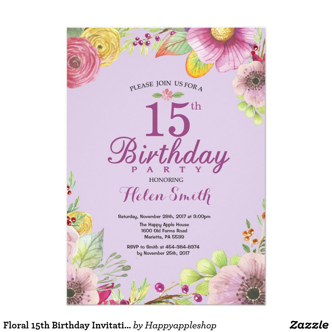 Floral 15th Birthday Invitation For Women Purple