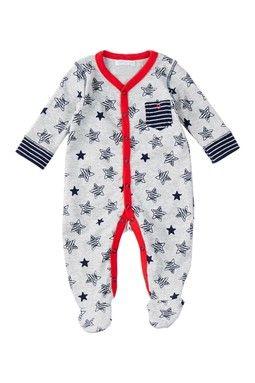 Contrast Trim Star & Stripe Snap Pocket Sleeper (Baby Boys)