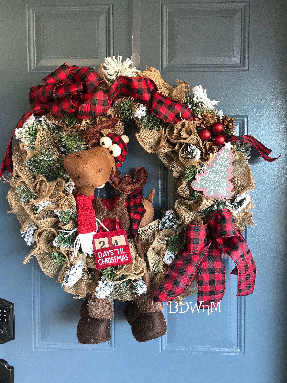 Christmas Door Wreath Moose Evergreen Burlap