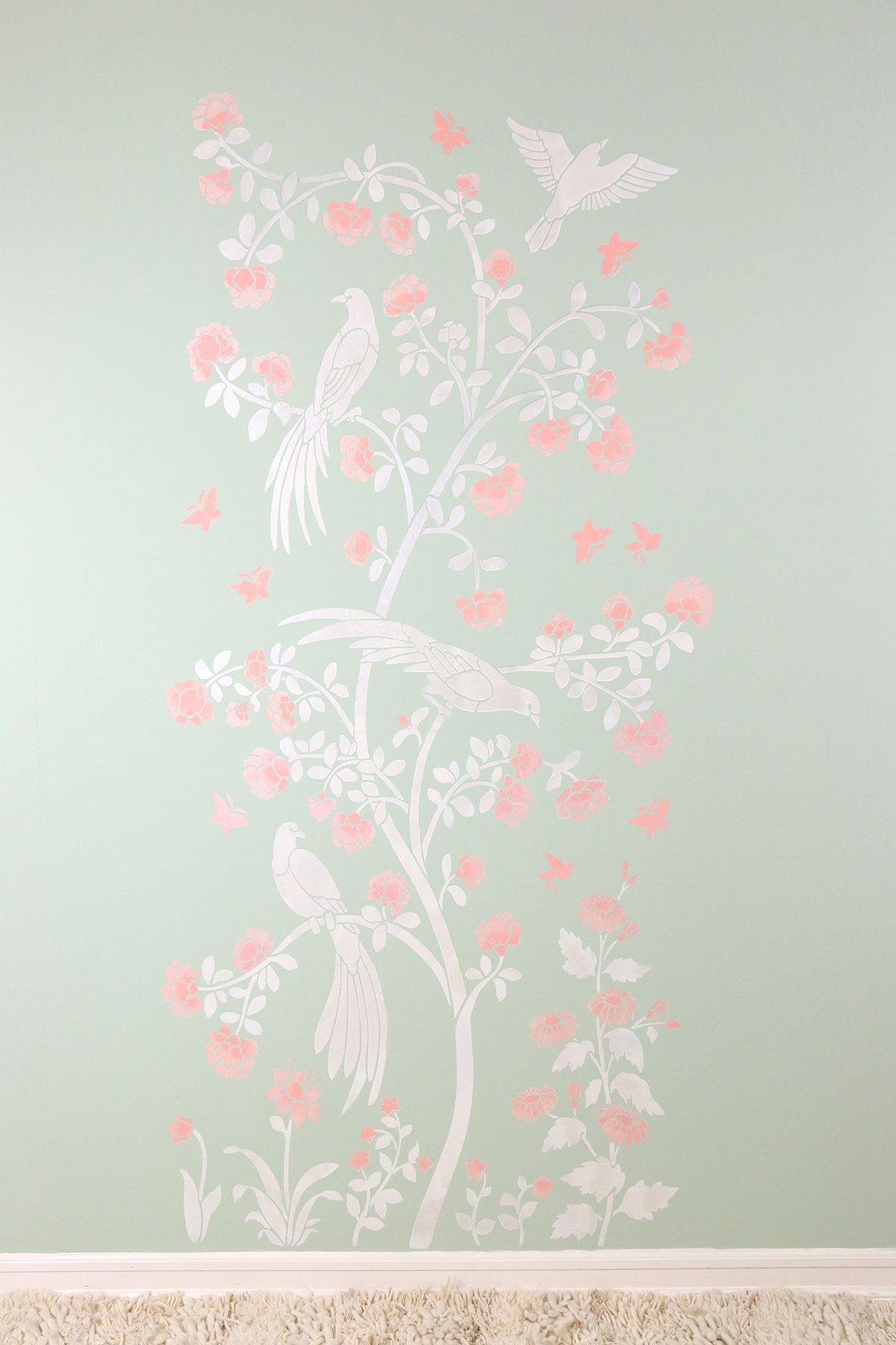DIY Stenciled Chinoiserie Wall Mural | Using Metallic Paints