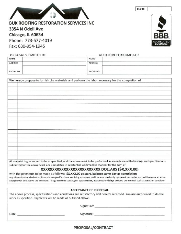 Chicago Roofing Company Illinois Roofing - Contract - roofing - worker compensation form