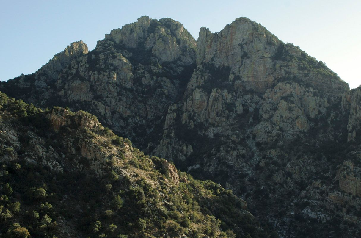 Prominent Point and tip of Finger Rock on left from Pima Canyon
