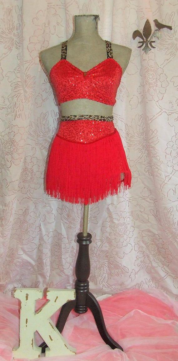 0f01e1fb4 Sassy Red Fringe Sequin Leopard 2 Piece High Waist Latin Jazz Salsa Samba  Dance Competition Showcase