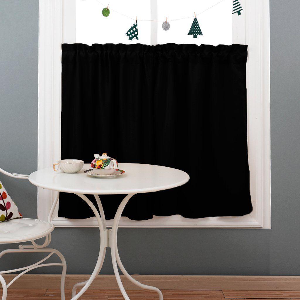 Nicetown Half Window Blackout Curtains Rod Pocket Tailored Tier