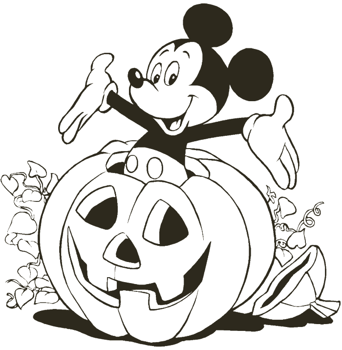Mickey Mouse With The Pumpkin Coloring Pages