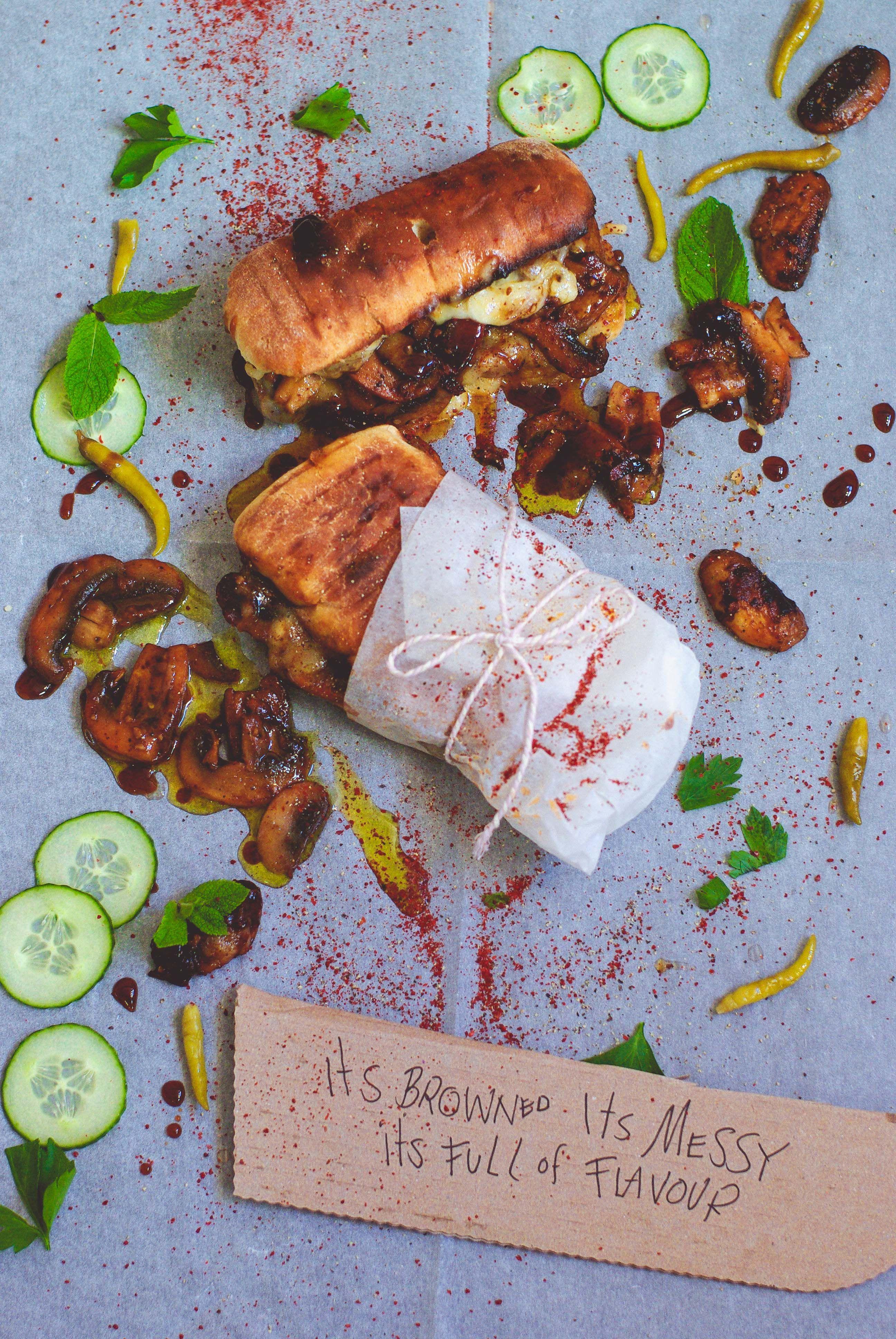Smokey mushroom cheesesteak for Happy Hour