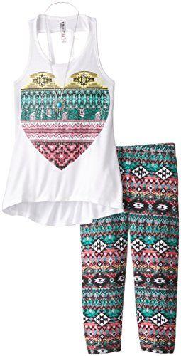 426c8ada58db5 Beautees Big Girls' Tank and Printed Capri Leggings Set, White, Small  Beautees http