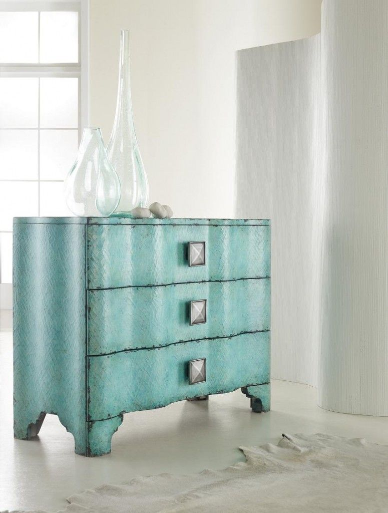 Hooker Furniture teal accent chest / http://www.interiors-furniture.com/