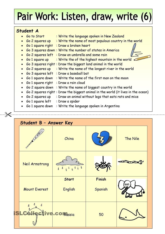 Pair Work: Listen, draw, write (6)   Education   Pinterest