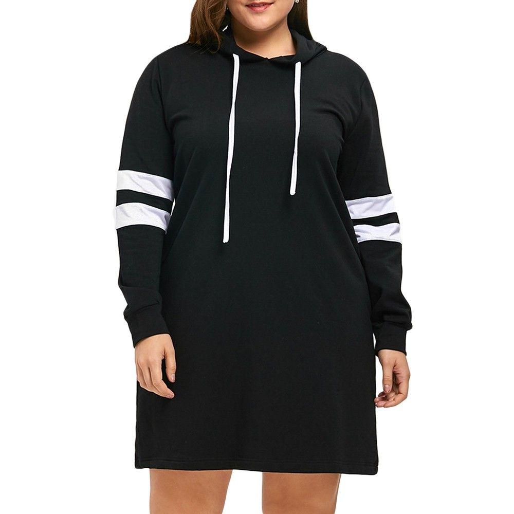 Plus Size Striped Longline Hoodie Black 3530026314 Size Xl Plus Size Hoodies Plus Size Outerwear Trendy Plus Size Clothing [ 1000 x 1000 Pixel ]