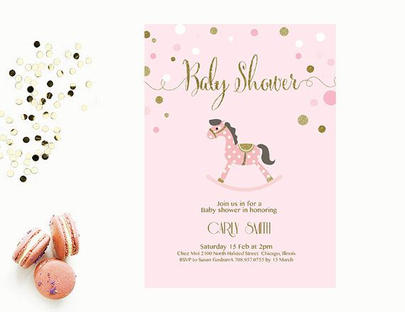 Baby Shower Invitation Editable Ms Word Template Rocking Horse