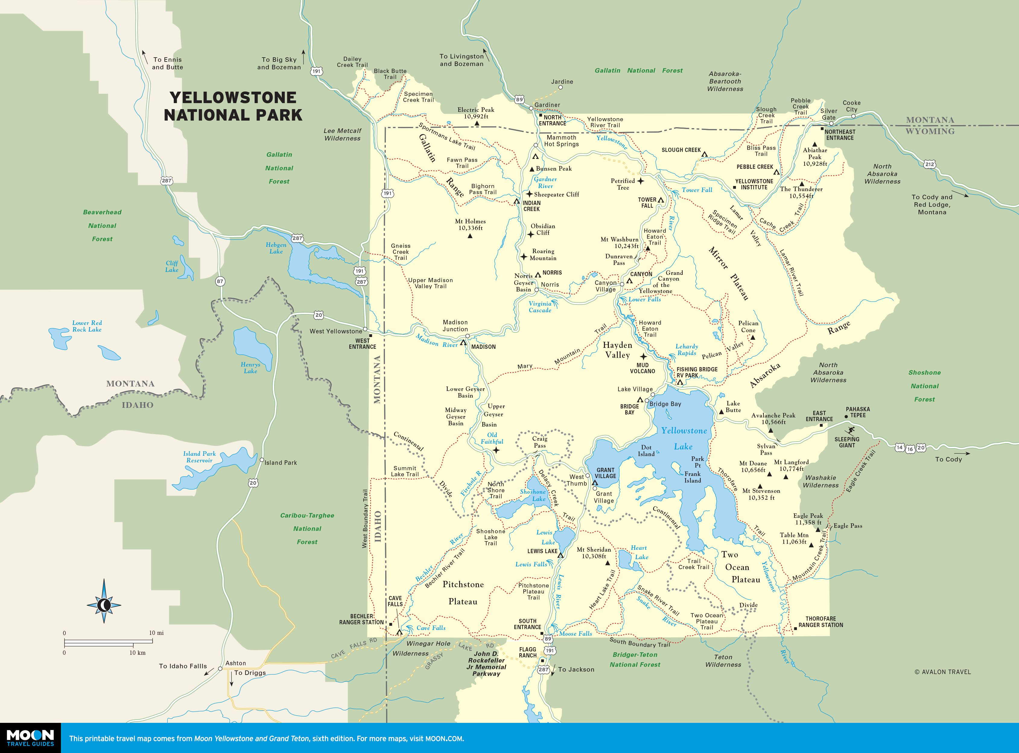 Rocky Mountains Wyoming Map.Yellowstone Park Wyoming 6 Hr Drive To Old Faithful From Ketchum
