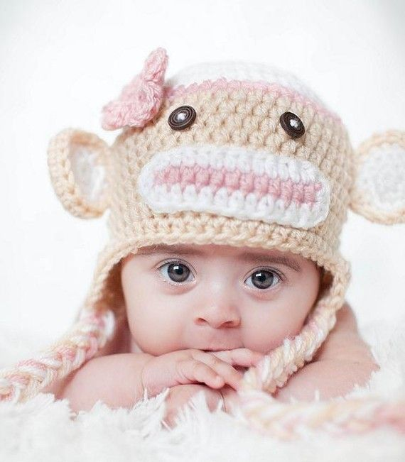 Download Pdf Crochet Pattern 010 Sock Monkey Hat Multiple Sizes