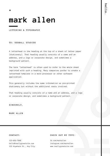 White And Black Minimalist Graphic Design Letterhead  Personal