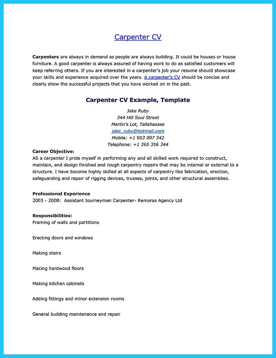 Carpenter Resume Samples Australia Template Construction Writing