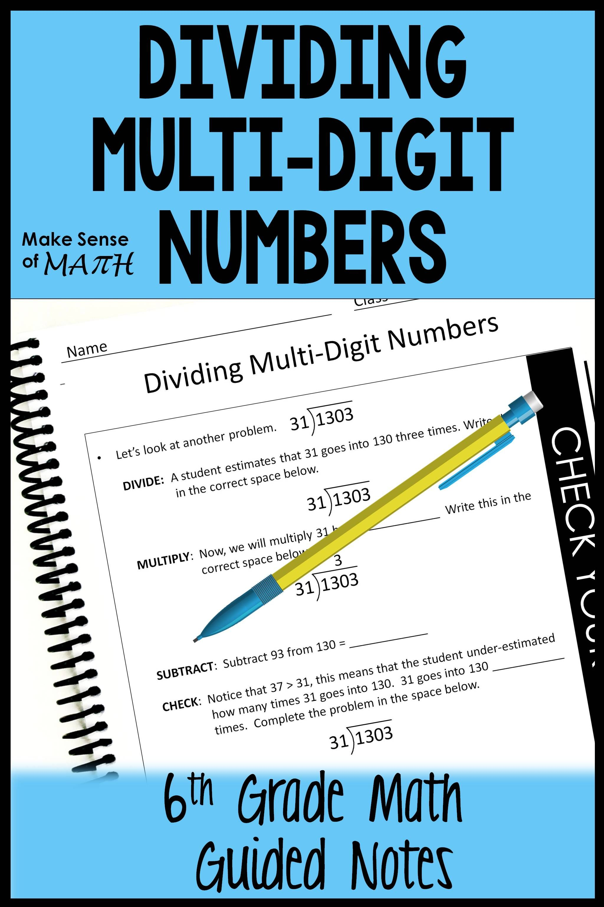 Dividing Multi Digit Numbers Notes