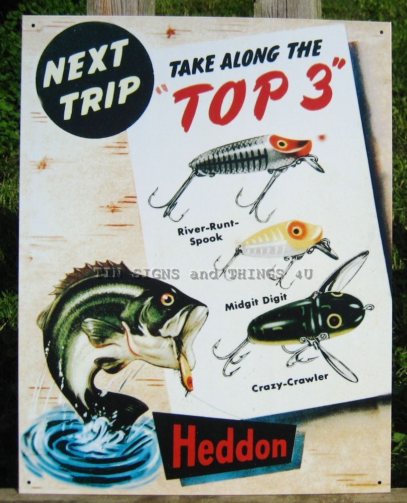 Heddon top 3 fishing tackle tin sign metal wall decor for Vintage fishing signs