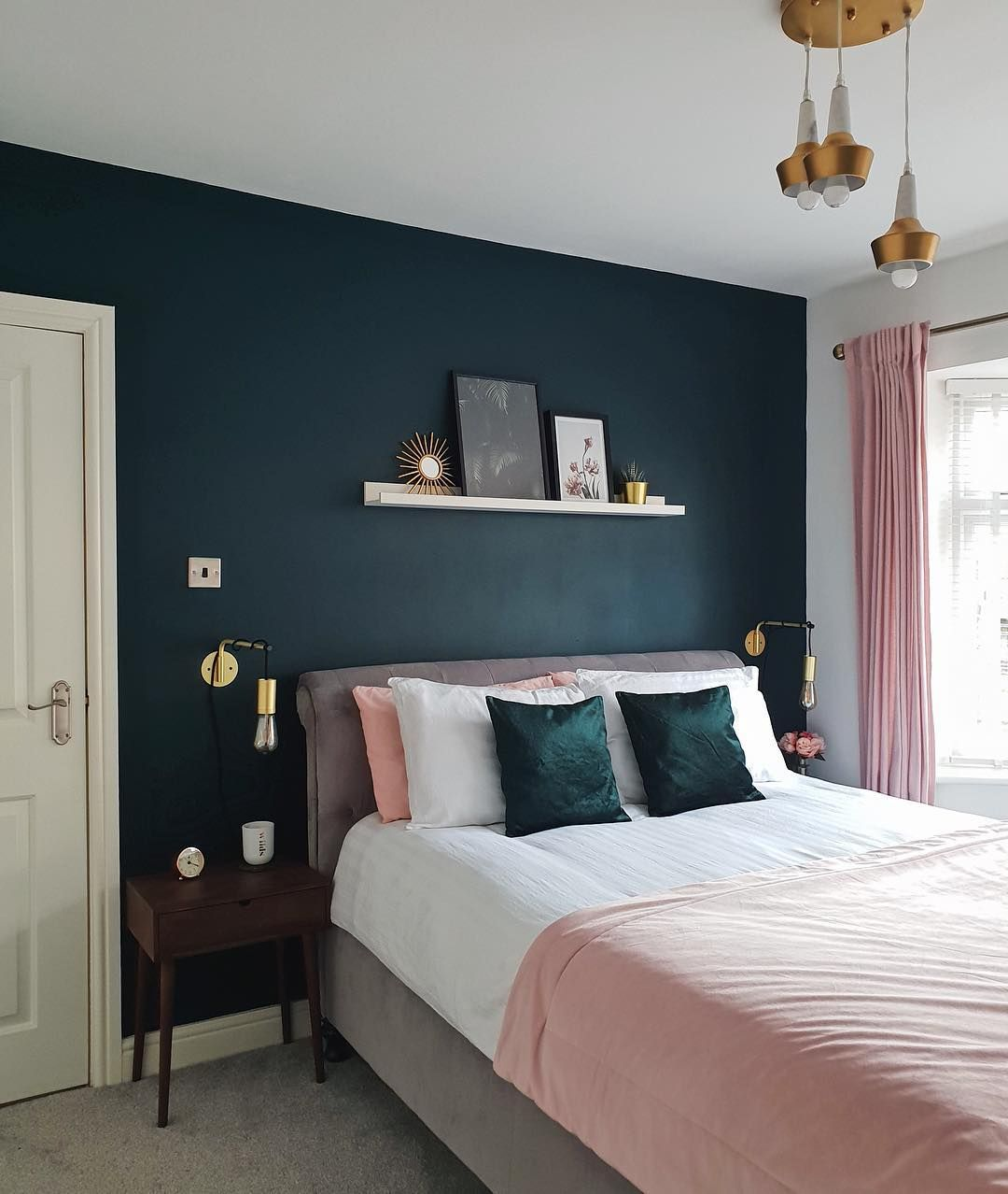 Bedroom Interior, Blue Bedroom Walls