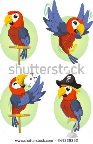 Cartoon Parrot Set Stock Vector Thesis In 2019 Papagei