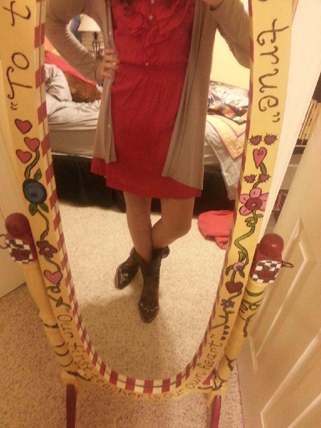 Summer dress, long-sleeved drape-y cardigan, and short cowboy boots. LOVE :)