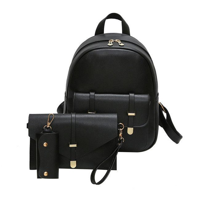 5bca0a862e 3Pcs Set Small Women Backpacks female 2017 School Bags For Teenage Pink PU  Leather Women Backpack Shoulder Bag Purse Sac A Dos