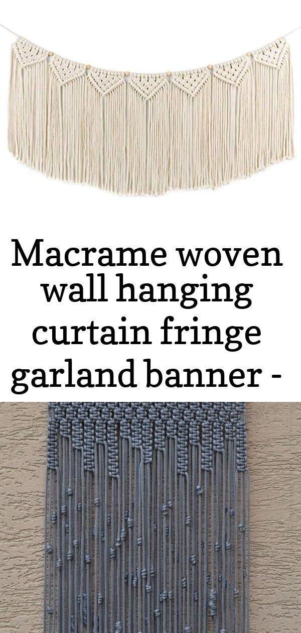 Macrame woven wall hanging curtain fringe garland banner - boho shabby chic bohe...