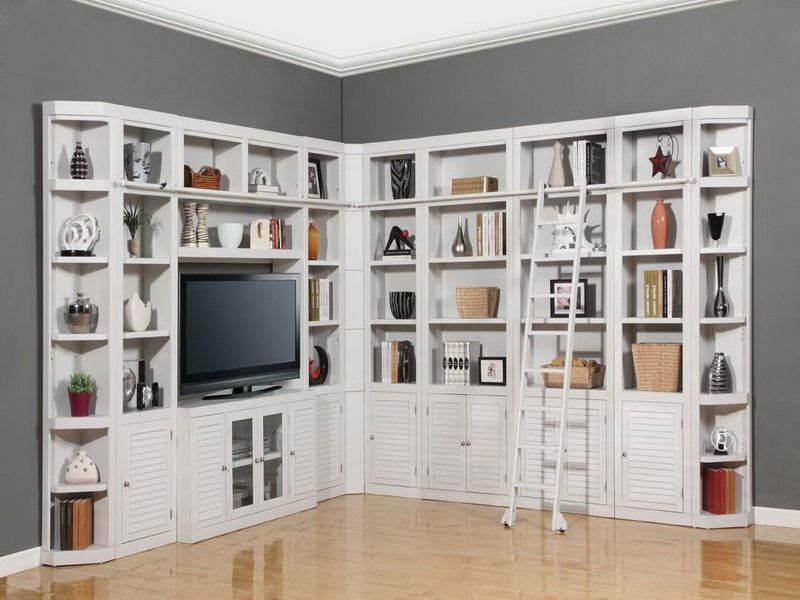 corner white wall unit shelves | home is where my heart is